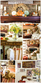 Warm and cozy family room with lots of ideas for fall decor.