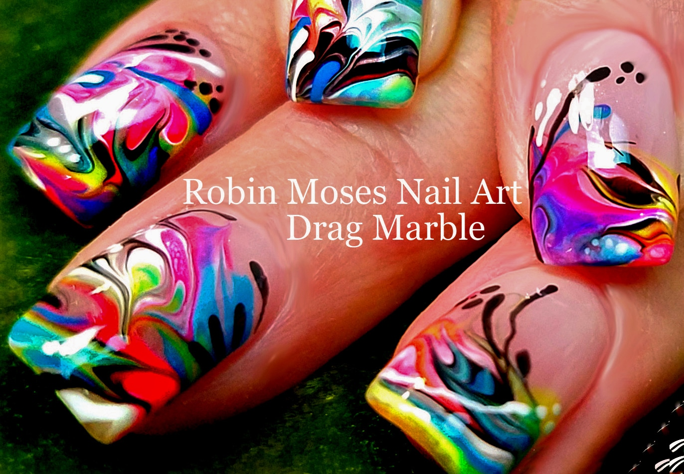 Nail Art by Robin Moses: Neon Water Marble Nails without the water ...