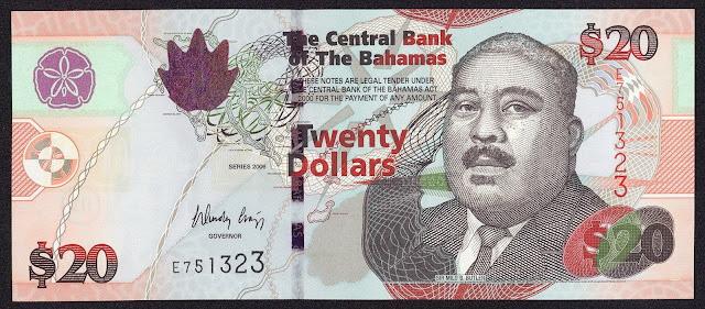 Bahamas Banknotes 20 Dollars banknote 2006 Sir Milo Boughton Butler