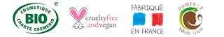 logo cosmétique bio, non testé sur les animaux, fabriqué en france