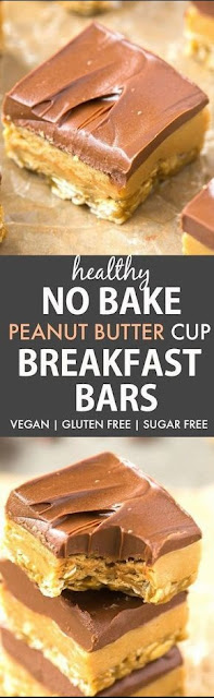 Healthy No Bake Peanut Butter Cup Breakfast Bars