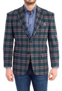 Yeşil ekoseli ceket-slim fit