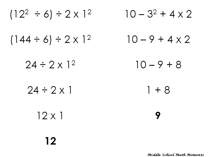 Middle School Math Moments And More Order Of