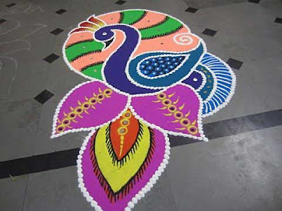 Peacock Rangoli Design Diwali