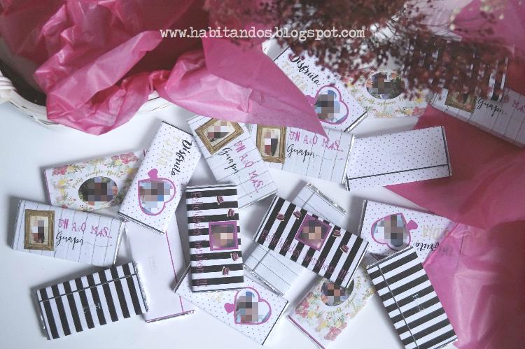 Chocolatinas personalizadas para cumpleaños diseño de Habitan2, decoración handmade para hogar y eventos