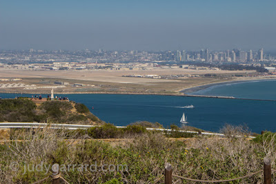 View of Cabrillo National Monument & San Diego from outside Old Point Loma Lighthouse