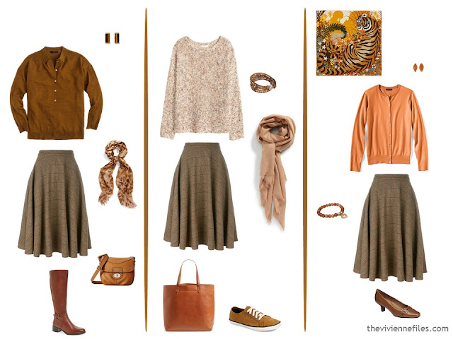 3 ways to wear a brown plaid skirt