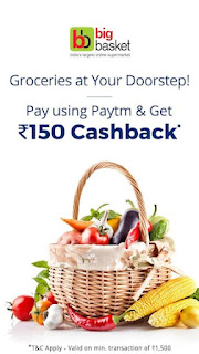 Flat Rs.150 cashback when you Pay using Paytm Wallet at BigBasket