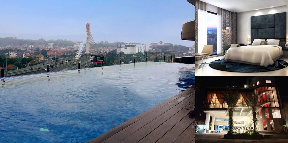 Kolam renang dengan view jembatan layang pasupati di for Dekor kamar hotel di bandung