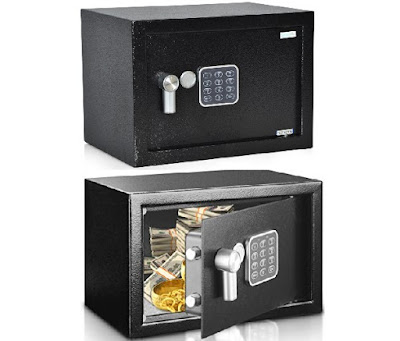 SereneLife Security Box SLSFE14 - Electronic Solid-Steel Safe Portable Vault - Compact Home Strongbox with Digital Lock