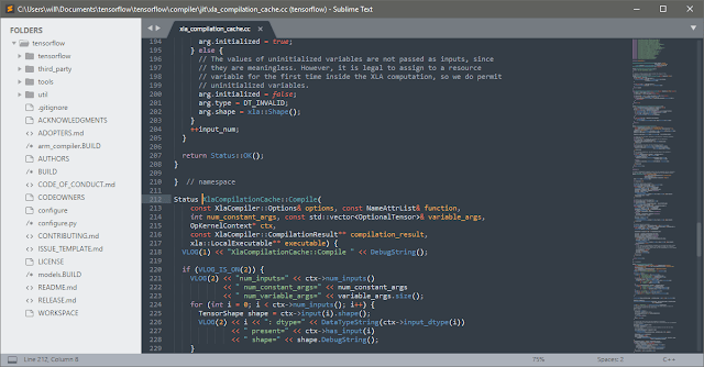 Sublime text user interface.
