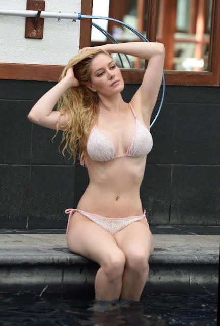 Heidi Montag in Bikini at the pool in London