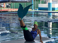 mermaid, fitness, water workout, balance, cozumel