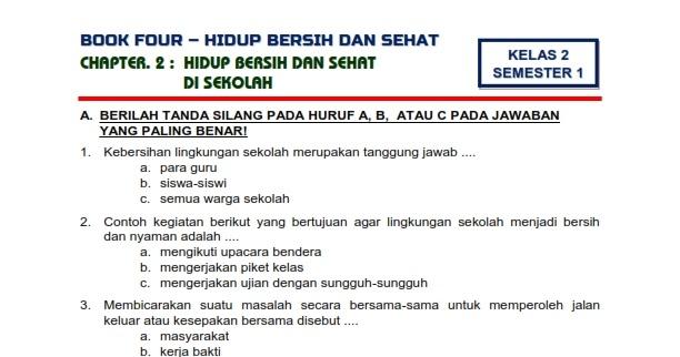 Download Soal Tematik Kelas 2 Semester 1 Tema 4 Subtema 2 Hidup Bersih Dan Sehat Hidup