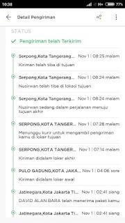Status pengiriman paxel