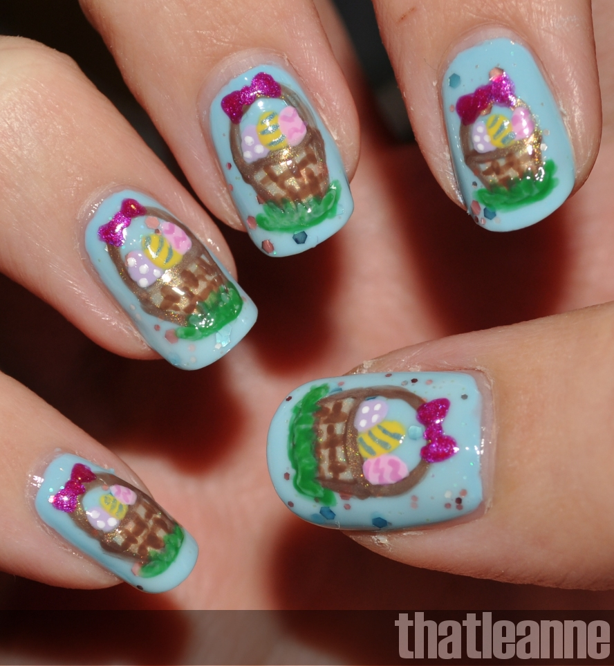Easter Nail Art Designs: Thatleanne: Easter Egg Basket Nail Art