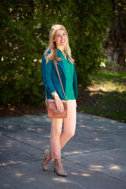 blush jeans, teal blouse, teal blazer, nude heels, pink cole haan bag