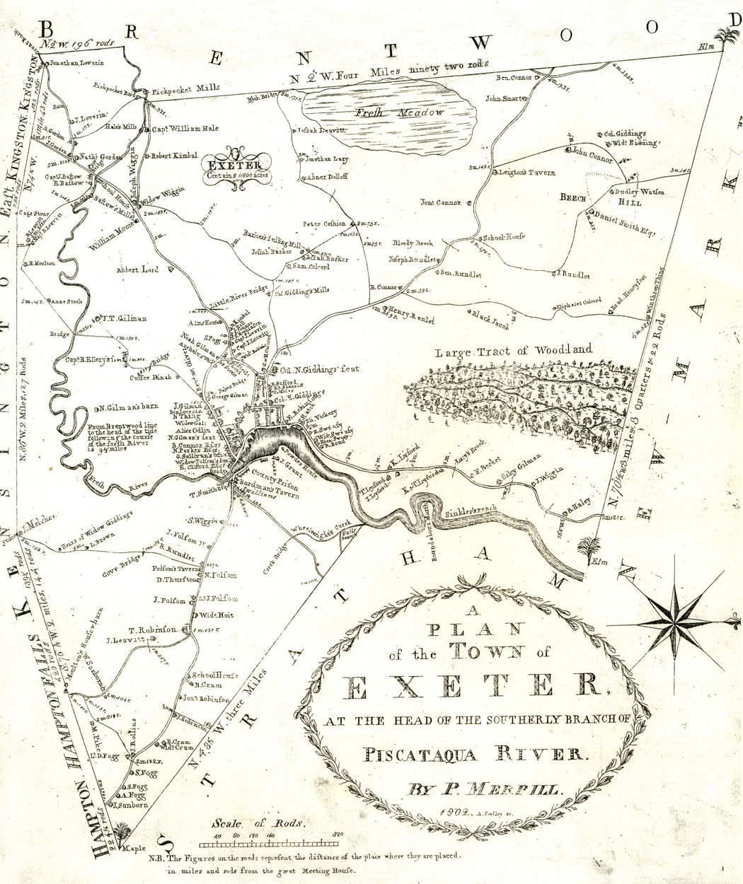Exeters Phineas Merrill Map - Map of towns in nh
