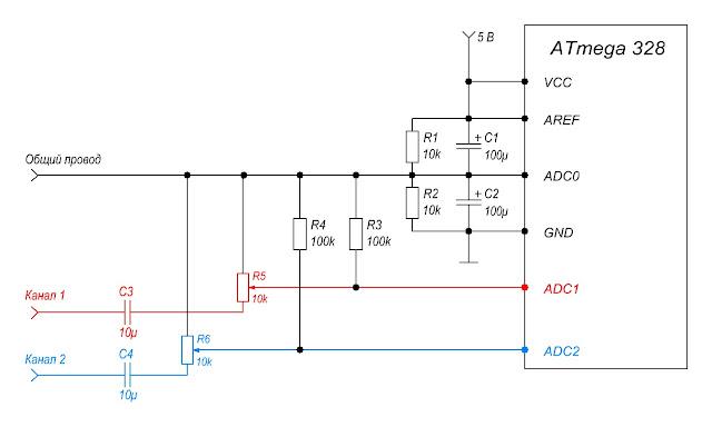 Схема подключения линии аудиосигнала к индикатору уровня звука. Для развязанного питания источника сигнала и измерительной схемы.