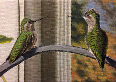 oil painting of two hummingbirds, 1st place award in the 2018 Fred Oldfield Spring art show at the Washington State Fair, copyright Anne Doane 2018