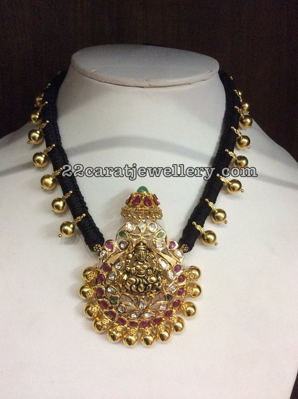 Black Thread Necklace Antique Lakshmi Locket