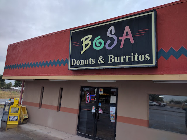 Breakfast burrito and apple fritter at Bo Sa Donuts in Las Cruces