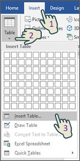 Cara 2 Menyisipkan Tabel