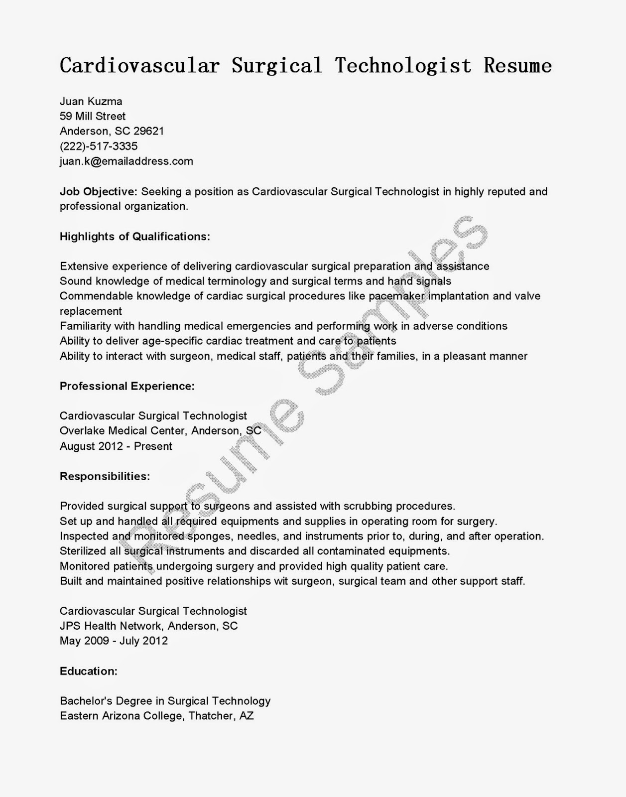 15 useful materials for certified surgical technologist kendra – Surgical Tech Resume Examples