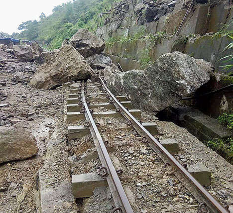 Toy train waits for landslide repairs