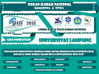 Lomba Karya Tulis Nasional Pelajar 2018 di UNILA