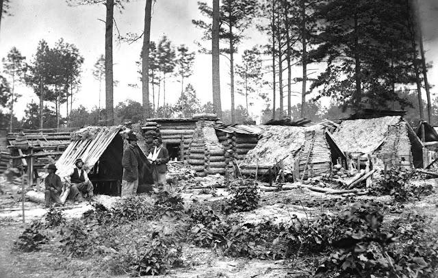 A captured Confederate encampment near Petersburg, Virginia, in June of 1864.