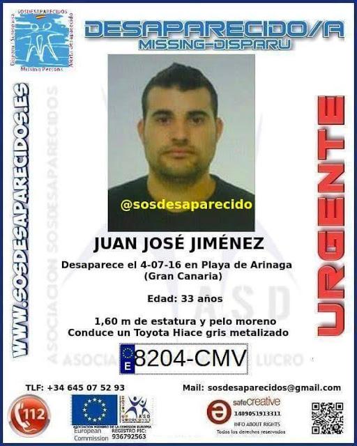 empleado municipal de Ingenio desaparecido Juan José Jiménez  Sánchez desaparecido  en playa de Arinaga, Gran Canaria