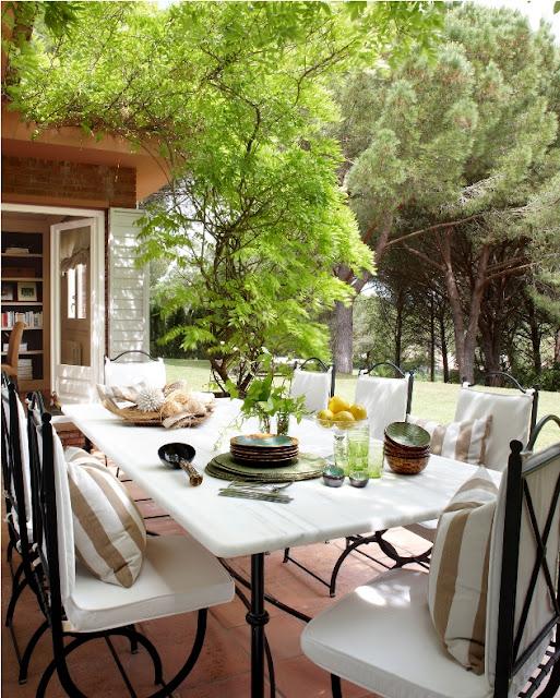 mesa exterior marmol blanca