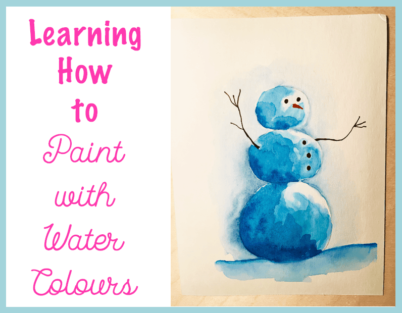 I painted this sweet snowman with a facebook tutorial: Watercolors by Michael!
