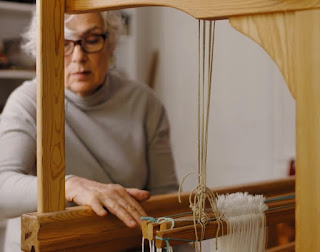 Sandra Brownlee at the loom.