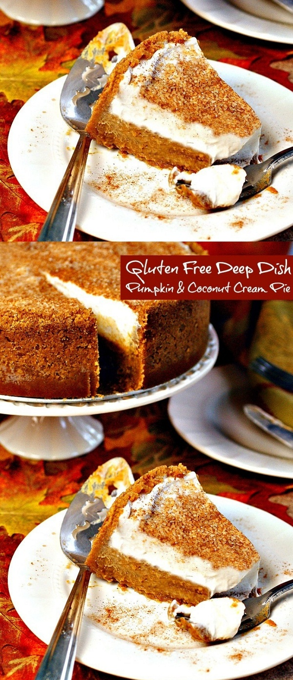 Gluten Free Deep Dish Pumpkin & Coconut Cream Pie