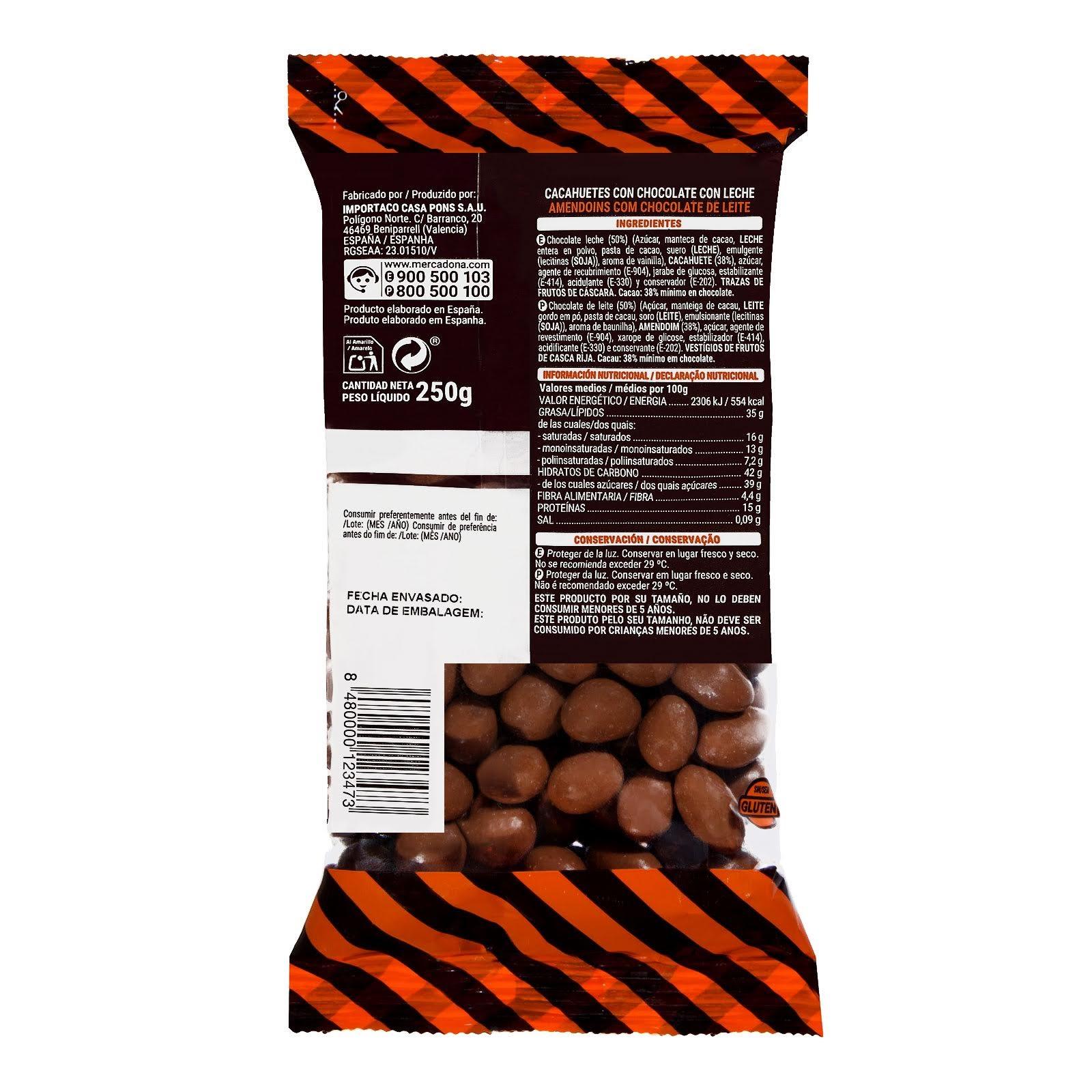 Cacahuetes recubiertos de chocolate con leche Hacendado