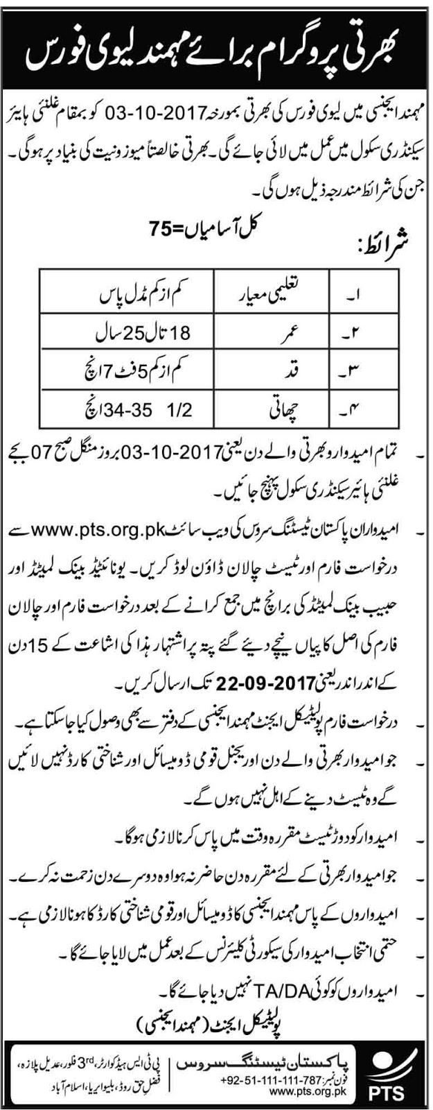 Jobs In Levis Force Mohmand Agency Sep 2017