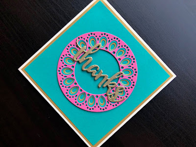 Hand made Thanks card with Birch Press Prem die and die cut and heat embossed greeting.