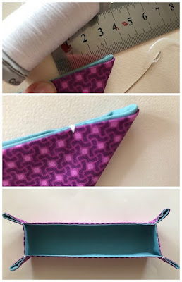 Tutorial to make a fabric pencil tray for the desk