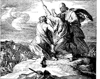 Moses extends his hands to his people win the battle against the Amalekites. Ex. 17:11.