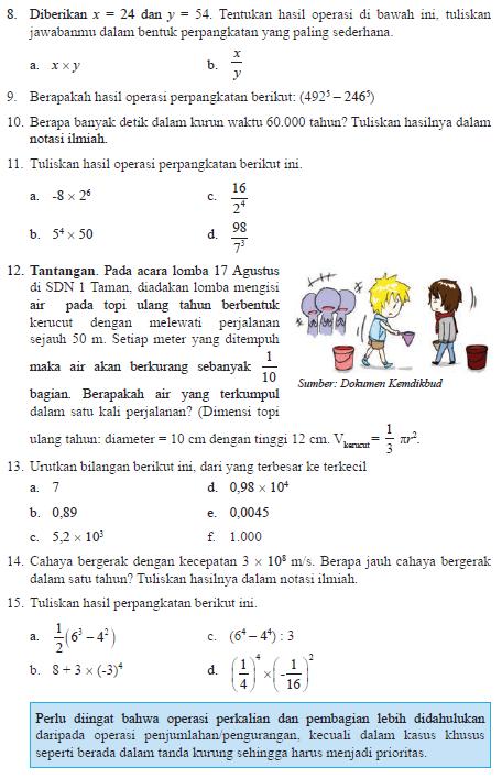Soal Bab I Perpangkatan dan Bentuk Akar Matematika SMP Kelas IX Kurikulum 2013 Semester 1  RAJA