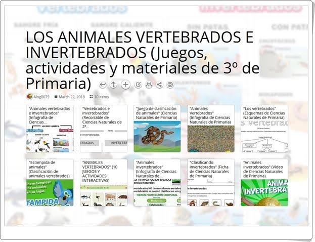 """""""10 Juegos, actividades y materiales para el estudio de LOS ANIMALES VERTEBRADOS E INVERTEBRADOS en 3º de Primaria"""""""