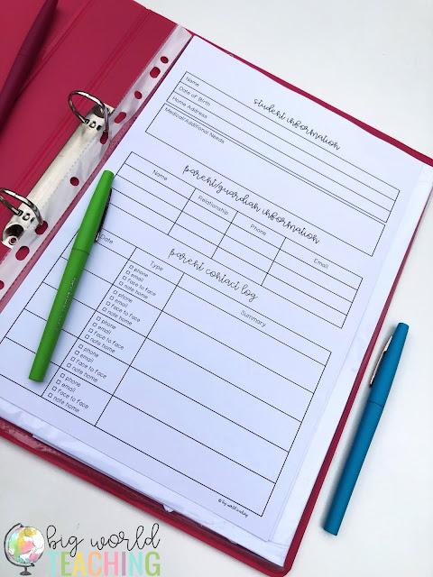 Big World Teaching Teacher Binders Organise Assessment Anecdotal Notes