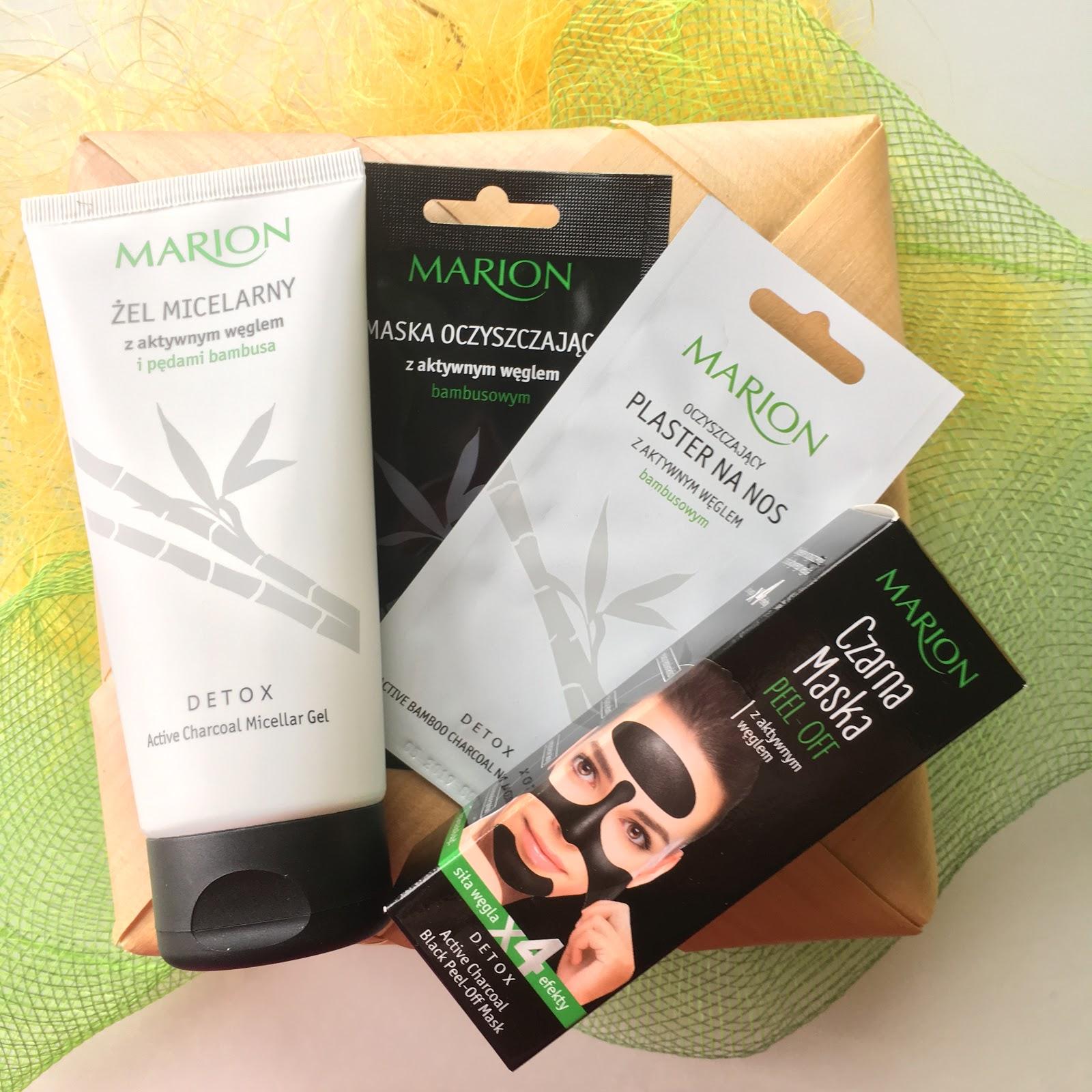 Pielęgnacja z aktywnym węglem od Marion, czyli Żel micelarny, Maska oczyszczająca, Plaster na nos oraz Czarna maska.