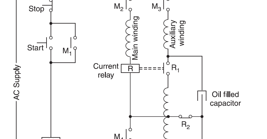STARTER FOR A TWO VALUE CAPACITOR MOTOR USING A CURRENT