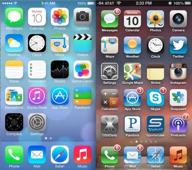 iOS 7 vs iOS 6 Icon Improvement