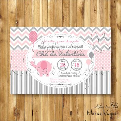 convite digital aniversário infantil personalizado artesanal festa chá de bebê fraldas 1 aninho menina elefantinho elefante delicado rosa cinza chevron poá listras envelope tag adesivo