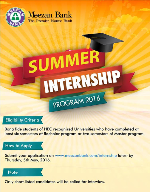 Jobs in Meezan Bank Summer Internship Program 2016