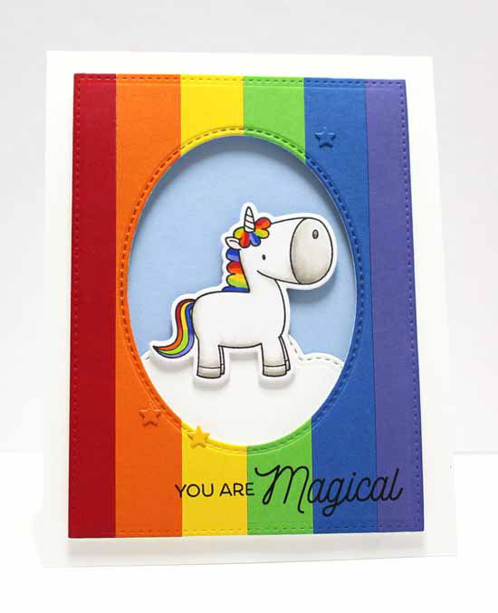 Magical Card by Jody Morrow featuring Birdie Brown Magical Unicorns stamp set and Die-namics, End of the Rainbow, Inside & Out Stitched Oval STAX, and Blueprints 24 Die-namics #mftstamps